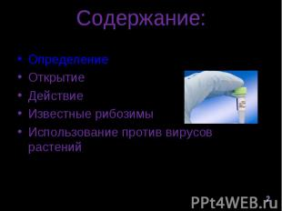 Определение Определение Открытие ДействиеИзвестные рибозимыИспользование против