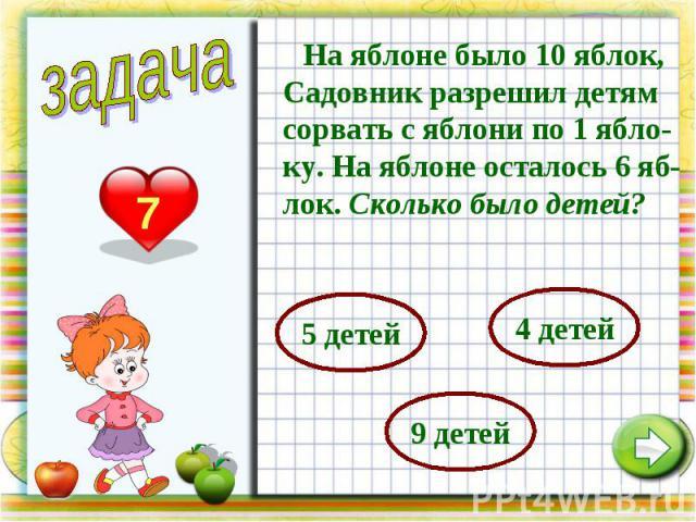 На яблоне было 10 яблок, Садовник разрешил детям сорвать с яблони по 1 ябло-ку. На яблоне осталось 6 яб-лок. Сколько было детей?