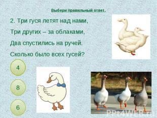 Выбери правильный ответ. 2. Три гуся летят над нами,Три других – за облаками,Два