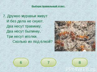Выбери правильный ответ. 7. Дружно муравьи живутИ без дела не снуют.Два несут тр