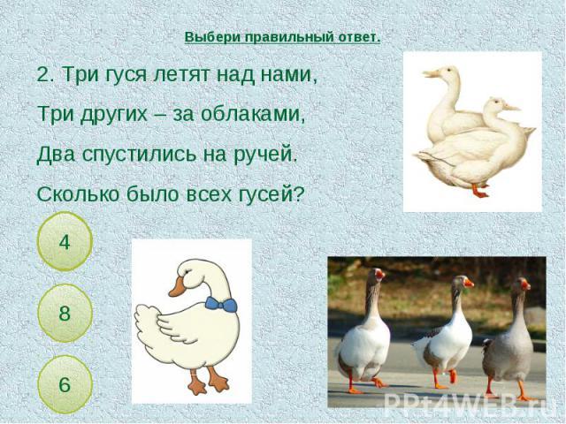 Выбери правильный ответ. 2. Три гуся летят над нами,Три других – за облаками,Два спустились на ручей.Сколько было всех гусей?