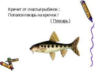 Кричит от счастья рыбачок :Попался пекарь на крючок ! ( Пескарь )