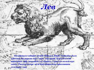 Лев Находится в зодиаке между Раком и Девой. Созвездие было известно шумерами ещ