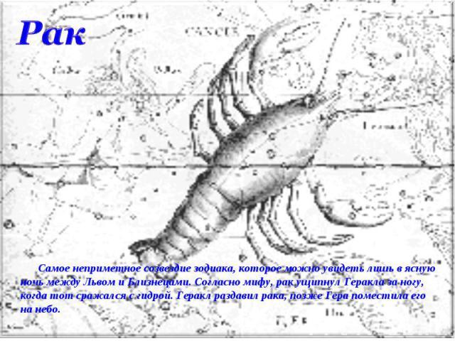 Рак Самое неприметное созвездие зодиака, которое можно увидеть лишь в ясную ночь между Львом и Близнецами. Согласно мифу, рак ущипнул Геракла за ногу, когда тот сражался с гидрой. Геракл раздавил рака, позже Гера поместила его на небо.