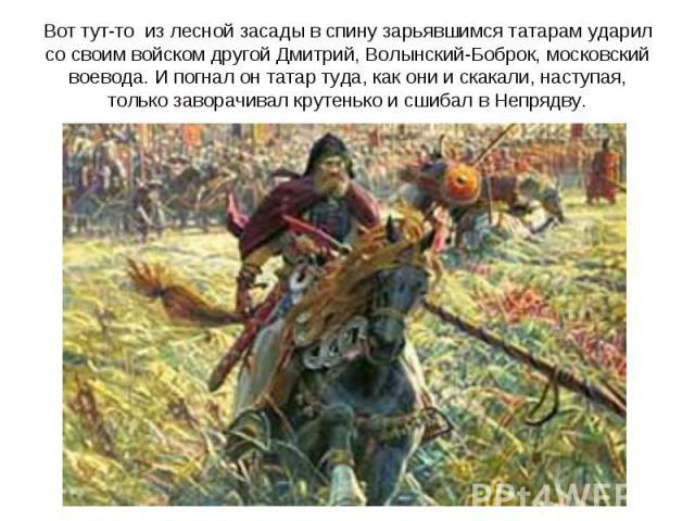 Вот тут-то из лесной засады в спину зарьявшимся татарам ударил со своим войском другой Дмитрий, Волынский-Боброк, московский воевода. И погнал он татар туда, как они и скакали, наступая, только заворачивал крутенько и сшибал в Непрядву.