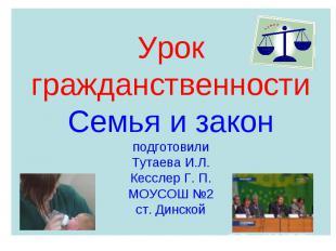 Урок гражданственностиСемья и законподготовилиТутаева И.Л.Кесслер Г. П.МОУСОШ №2