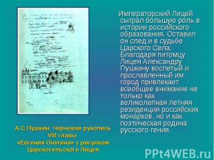 Императорский Лицей сыграл большую роль в истории российского образования. Остав