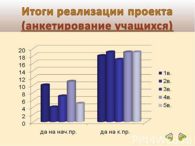 Итоги реализации проекта(анкетирование учащихся)