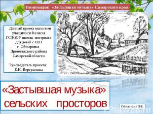 Номинация: «Застывшая музыка» Самарского края Данный проект выполнен учащимися 8