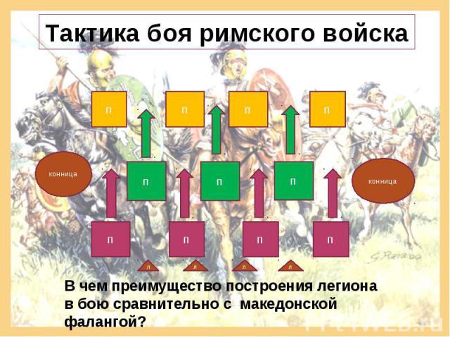 Тактика боя римского войска В чем преимущество построения легиона в бою сравнительно с македонской фалангой?