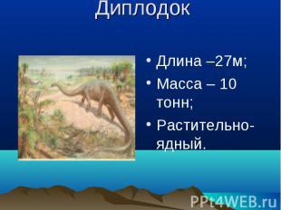 Диплодок Длина –27м;Масса – 10 тонн;Растительно-ядный.