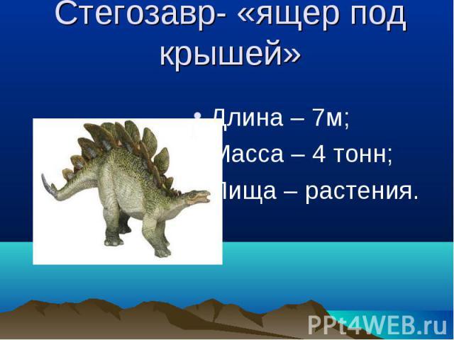 Стегозавр- «ящер под крышей» Длина – 7м;Масса – 4 тонн;Пища – растения.