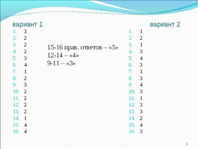 15-16 прав. ответов – «5»12-14 – «4»9-11 – «3»