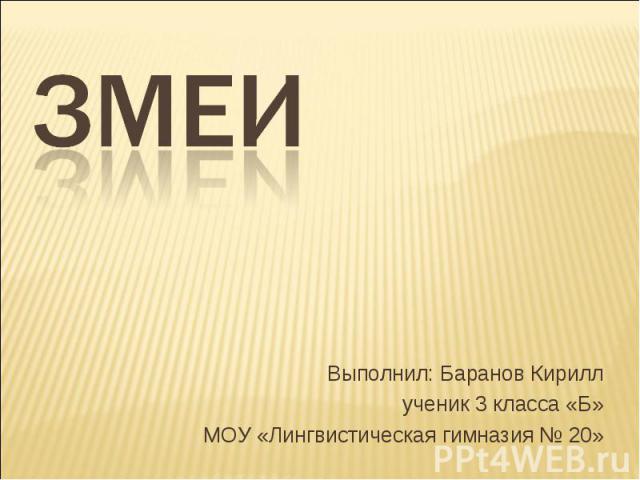 Змеи Выполнил: Баранов Кириллученик 3 класса «Б»МОУ «Лингвистическая гимназия № 20»