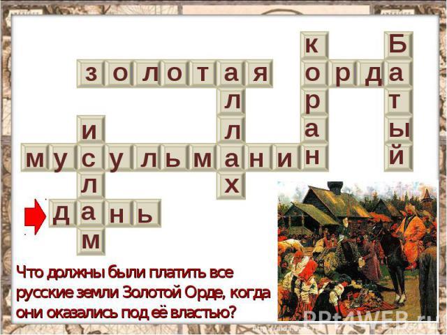Что должны были платить все русские земли Золотой Орде, когда они оказались под её властью?