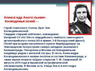Александр Анатольевич Космодемьянский — Герой Советского Союза, брат Зои Космоде
