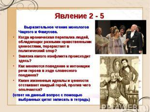 Явление 2 - 5 Выразительное чтение монологов Чацкого и Фамусова.Когда ироническа