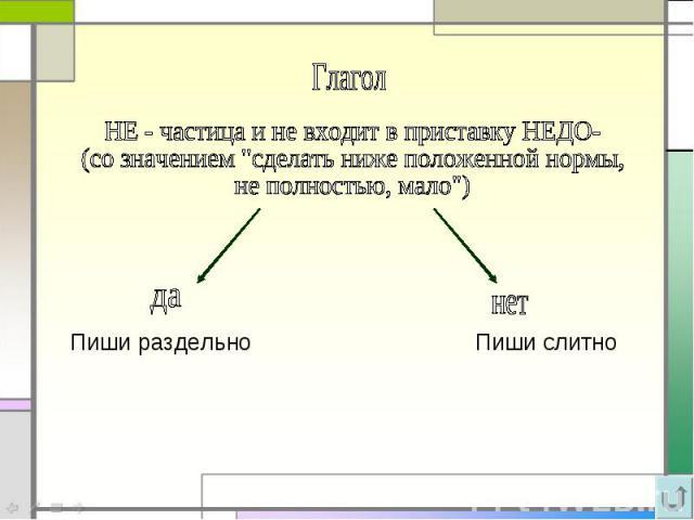 ГлаголНЕ - частица и не входит в приставку НЕДО- (со значением