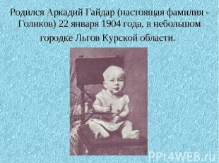 Родился Аркадий Гайдар (настоящая фамилия - Голиков) 22 января 1904 года, в небо