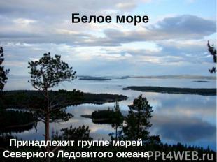 Белое море Принадлежит группе морей Северного Ледовитого океана