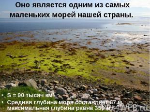 Оно является одним из самых маленьких морей нашей страны. S = 90 тысяч км²Средня