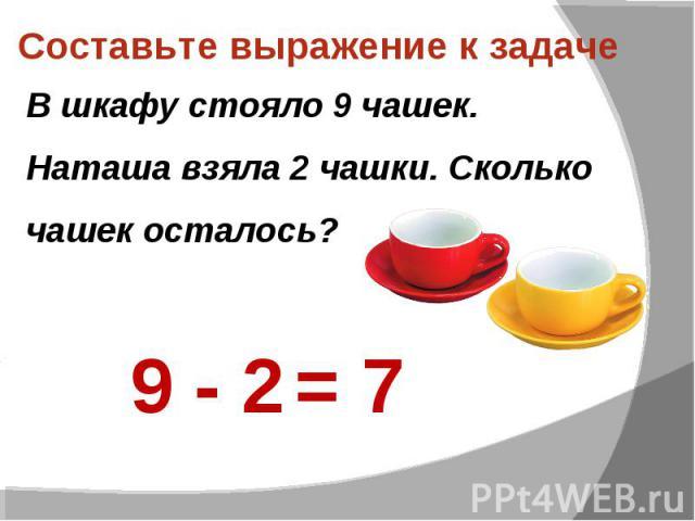 Составьте выражение к задаче В шкафу стояло 9 чашек. Наташа взяла 2 чашки. Сколько чашек осталось?