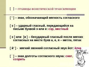 [ ] – ГРАНИЦЫ ФОНЕТИЧЕСКОЙ ТРАНСКРИПЦИИ [ ' ] – знак, обозначающий мягкость согл