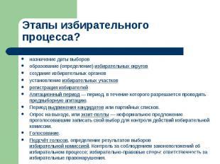 Этапы избирательного процесса? назначение даты выборовобразование (определение)