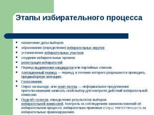 Этапы избирательного процесса назначение даты выборовобразование (определение) и