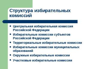Структура избирательных комиссий Центральная избирательная комиссия Российской Ф