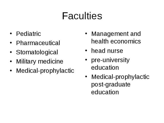 Faculties PediatricPharmaceuticalStomatologicalMilitary medicineMedical-prophylacticManagement and health economicshead nursepre-university educationMedical-prophylactic post-graduate education