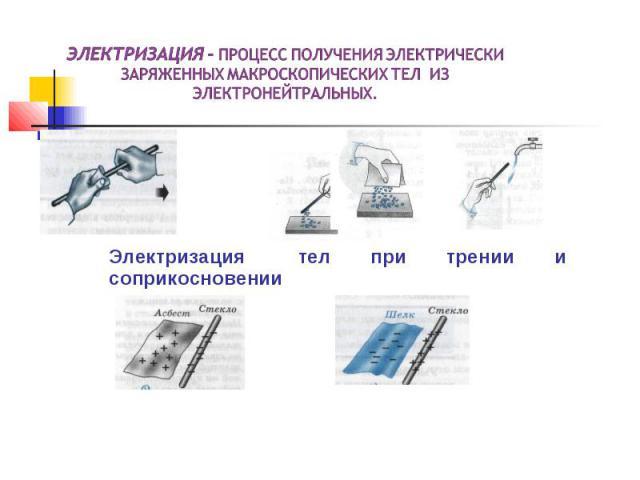 Электризация - процесс получения электрически заряженных макроскопических тел из электронейтральных.