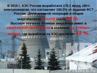 В 2010 г. АЭС России выработали 170,1 млрд. кВтч электроэнергии, что составляет