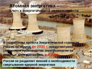 Атомная энергетика — ключ к энергетической независимости В разработках проекта Э