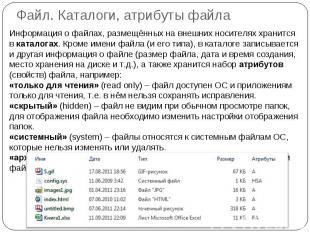 Файл. Каталоги, атрибуты файла Информация о файлах, размещённых на внешних носит