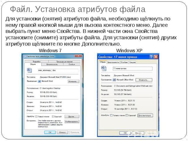 Файл. Установка атрибутов файла Для установки (снятия) атрибутов файла, необходимо щёлкнуть по нему правой кнопкой мыши для вызова контекстного меню. Далее выбрать пункт меню Свойства. В нижней части окна Свойства установите (снимите) атрибуты файла…