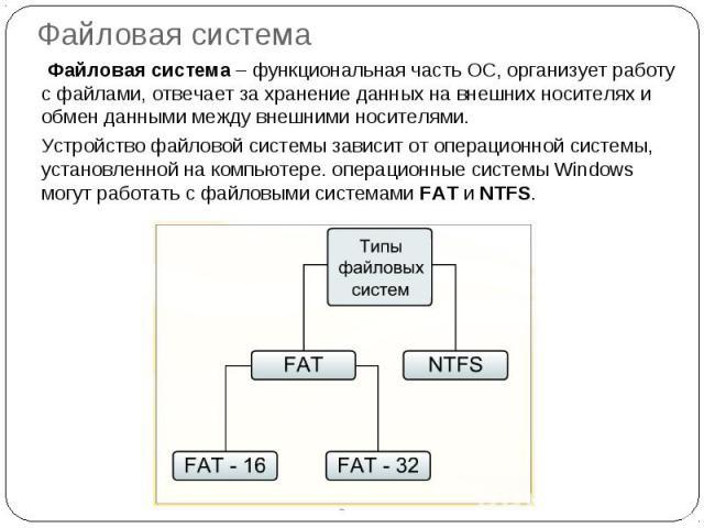 Файловая система Файловая система – функциональная часть ОС, организует работу с файлами, отвечает за хранение данных на внешних носителях и обмен данными между внешними носителями.Устройство файловой системы зависит от операционной системы, установ…