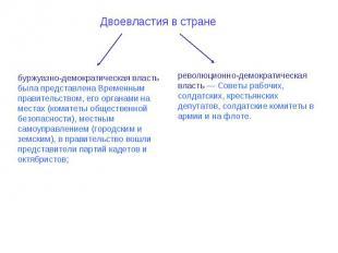 Двоевластия в стране буржуазно-демократическая власть была представлена Временны