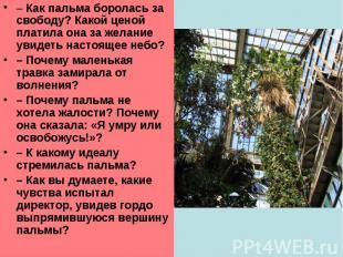 –Как пальма боролась за свободу? Какой ценой платила она за желание увидеть нас