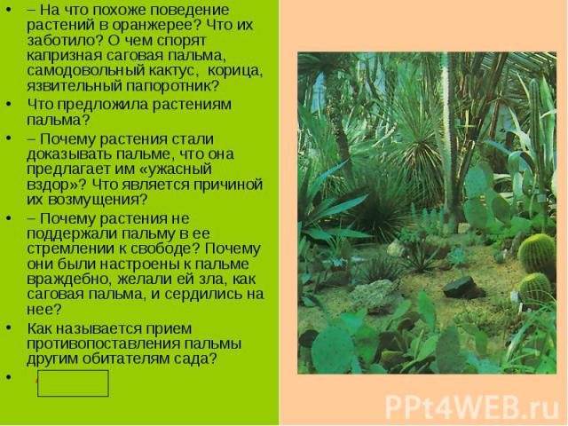 –На что похоже поведение растений в оранжерее? Что их заботило? О чем спорят капризная саговая пальма, самодовольный кактус, корица, язвительный папоротник?Что предложила растениям пальма?–Почему растения стали доказывать пальме, что она предлагае…