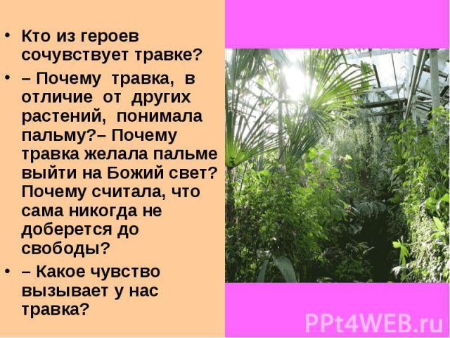 Кто из героев сочувствует травке?–Почему травка, в отличие от других растений, понимала пальму?–Почему травка желала пальме выйти на Божий свет? Почему считала, что сама никогда не доберется до свободы?–Какое чувство вызывает у нас травка?