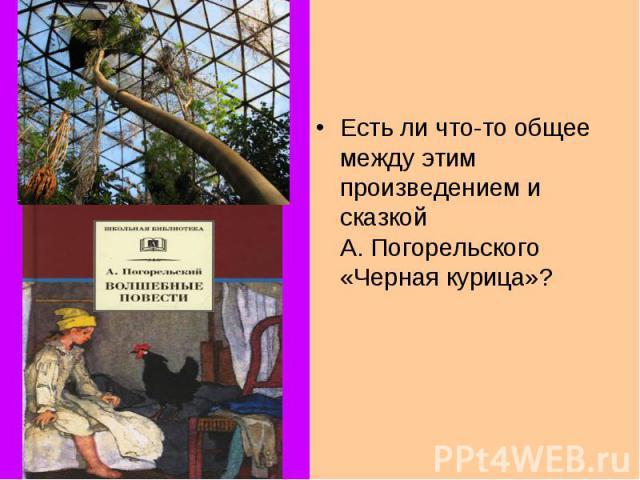 Есть ли что-то общее между этим произведением и сказкой А.Погорельского «Черная курица»?
