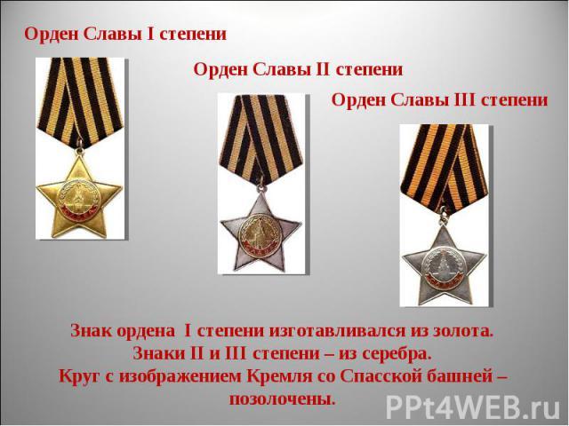 Знак ордена I степени изготавливался из золота.Знаки II и III степени – из серебра.Круг с изображением Кремля со Спасской башней –позолочены.