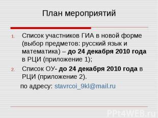 План мероприятий Список участников ГИА в новой форме (выбор предметов: русский я