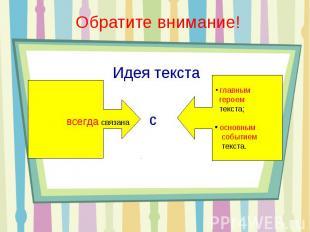 Идея текста главным героем текста; основным событием текста.