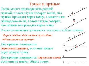 Точки и прямые Точка может принадлежать данной прямой, в этом случае говорят так