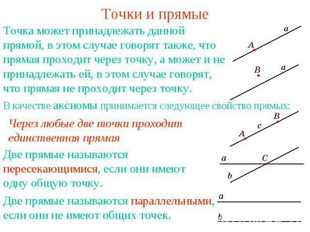 Точки и прямые Точка может принадлежать данной прямой, в этом случае говорят также, что прямая проходит через точку, а может и не принадлежать ей, в этом случае говорят, что прямая не проходит через точку. Через любые две точки проходит единственная…