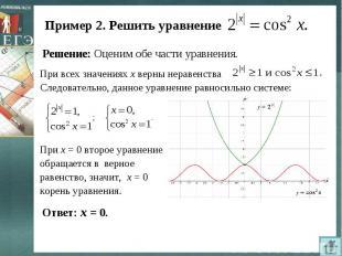 Пример 2. Решить уравнение Решение: Оценим обе части уравнения.При всех значения