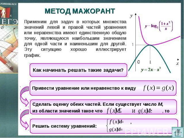 МЕТОД МАЖОРАНТ Применим для задач в которых множества значений левой и правой частей уравнения или неравенства имеют единственную общую точку, являющуюся наибольшим значением для одной части и наименьшим для другой. Эту ситуацию хорошо иллюстрирует …