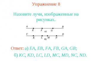 Упражнение 8 Назовите лучи, изображенные на рисунках.Ответ: а) EA, EB, FA, FB, G